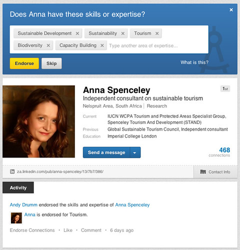 Anna Spenceley on Linked In 06.2013