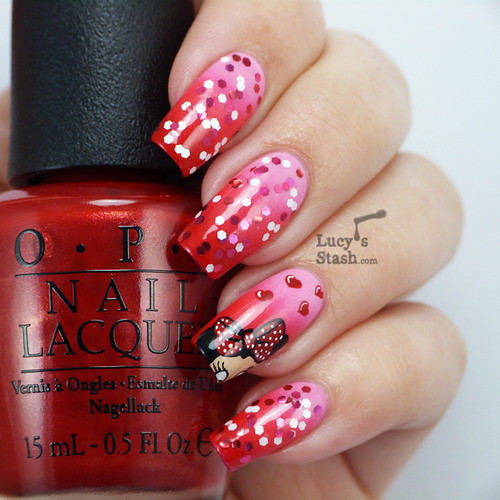 lucysstash: OPI Couture de Minnie Nail Art - My Minnie Mouse...