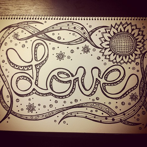 "Midnight doodling is done:) I drew this ""Love"" more than a few times in the past.  This ""Love"" is for people who support me and make me smile.  Thanks for ur love. #doodle #doodling #artjournal #artjournaling #love"