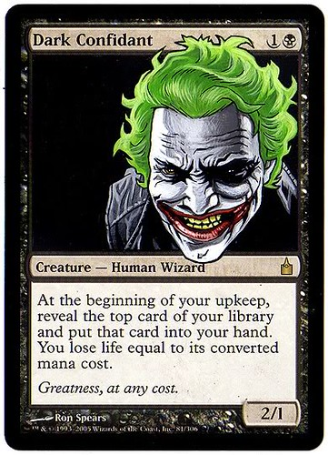 mtg Dark Confidant Magic the gathering Eric Klug mtg altered card art magic artwork joker batman art joker concept art arkham asylum arkham city concept art