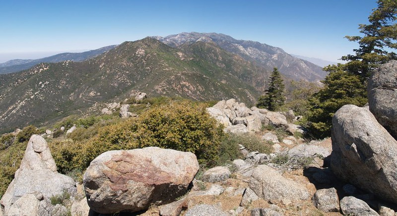 Looking north over Fobes Saddle at Spitler Peak and Apache Peak (with San Jacinto Peak in the distance)