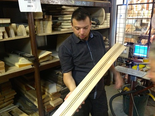 Mack Konczak shows material for a Mayones guitar neck
