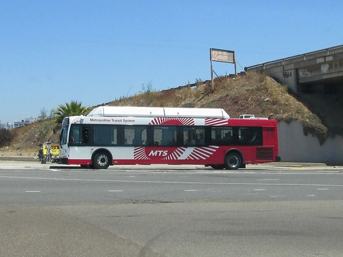 A San Diego MTS / Metropolitan Transit System city bus near the Interstate # 5 / Pacific Highway.  San Diego Californa.  June 2013. by Eddie from Chicago