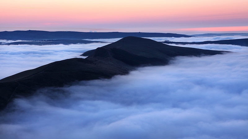 Cloud inversion at sunrise on Mam Tor and Lose Hill in the Derbyshire Peak District