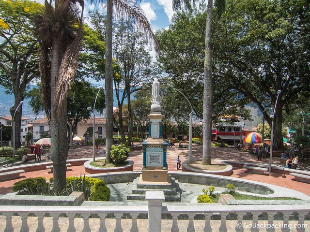 View of the Parque Principal (Parqu Bolivar) from the basilica