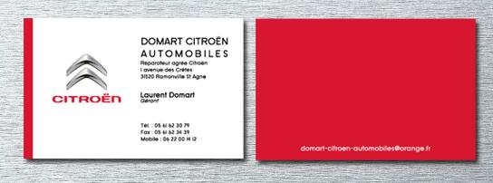 Impression des cartes de visites du garage Citroën de Ramonville, d'après la charte graphique Citroën.