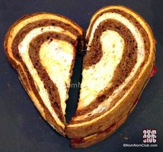 Starbucks' heart-shaped Salami  & Cheese on Marbled Rye Bread