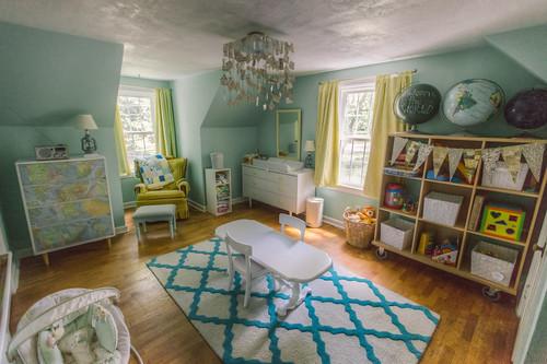 cameretta del bambino con le pareti azzurre