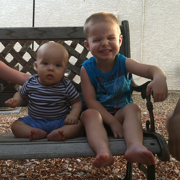 Brothers on a bench