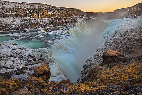 landscape nature waterfalls gullfoss iceland winter natureiceland icelandicwaterfalls canoneos5dmarkii canonef2470mm128lusm sigmundurandresson glacierriver travel islandia ísland ice sunrise waterfall icelandicwinter longexposure water stream
