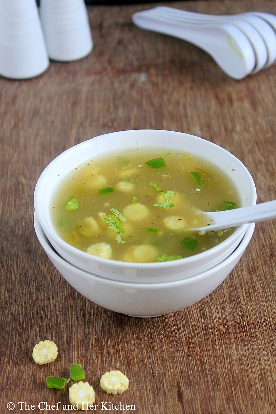 baby corn capsicum soup