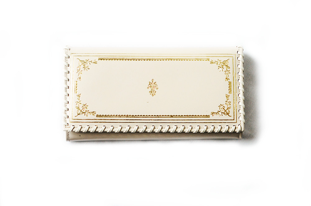 Vintage Cream and Gold Leather Wallet