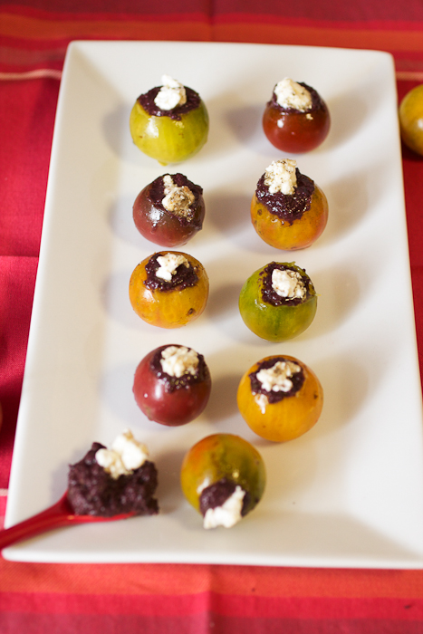 Feta and Olive Tapenade Stuffed Cherry Tomatoes