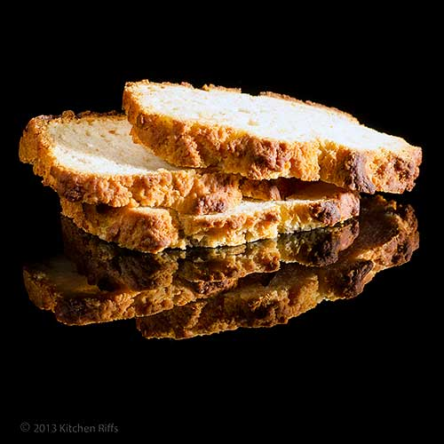 Beer Bread slices on black acrylic