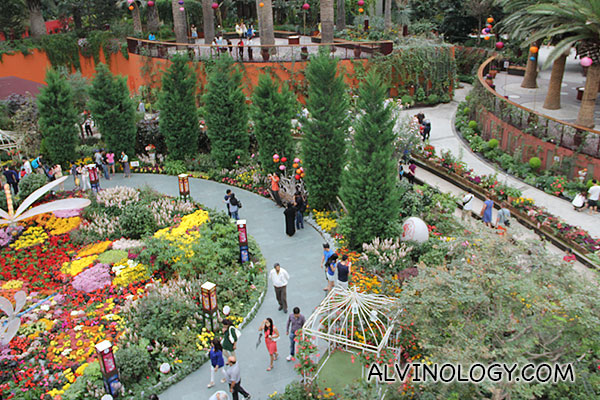 View of the flowerbed from the second floor