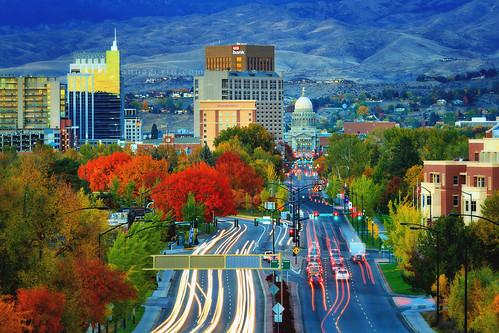 city autumn foothills fall canon evening downtown fallcolor traffic dusk sigma idaho boise 7d lighttrails bluehour capitolbuilding 70200mm neutraldensityfilter nd12 capitolboulevard