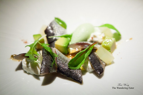 First course - Fresh marinated sardines (boquerones), fresh cheese, avocado, cucumber sorbet