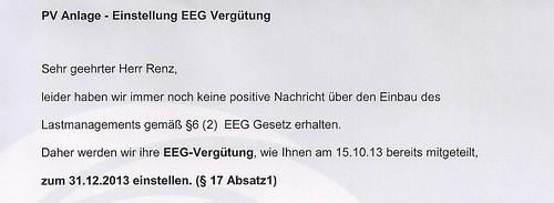 Einstellung EEG Umlage