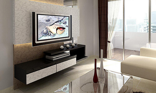 wood plus design feature wall and tv console