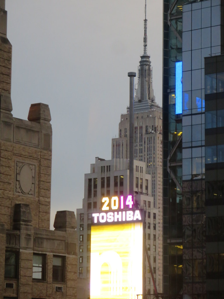 the 2014 times square new years eve ball drop atop the one times square building with
