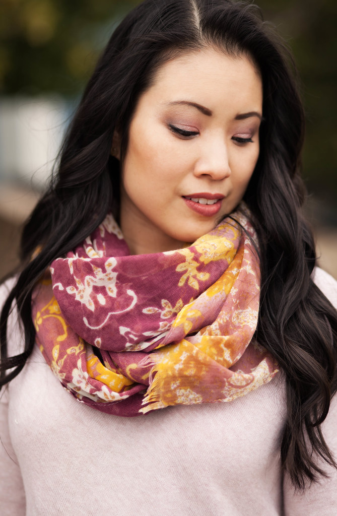 cute & little blog   floral scarf, pink sweater   spring colors outfit