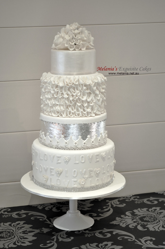 Silver And Lavender Wedding Cake