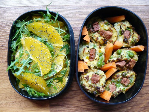 Bento: orange and rocket salad, stuffed potatoes