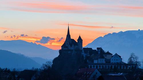 sunset st austria österreich mary rankweil basilika vorarlberg greatphotographers canon24105 platinumheartaward 2014week6 marienwahlfahrtsort