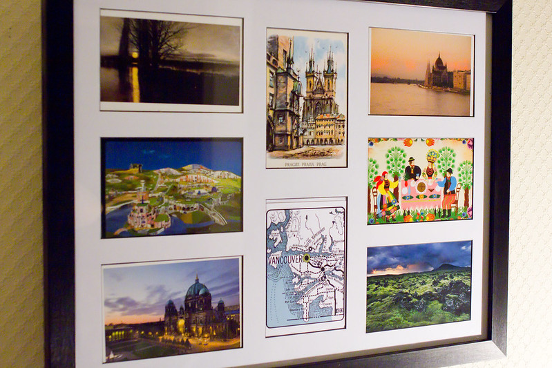 Thursday, December 19: This is one of the ways I commemorate my trips. I get postcards from each country I visit and frame them. (Clockwise from left: Krakow, Poland; Prague, Czech Republic; Budapest, Hungary; Krakow, Poland; Reykjavik, Iceland; Vancouver