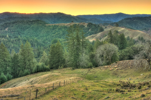 california autumn trees sunset orange mountain cold green field yellow forest fence evening day hills clear paradiseridge ettersburg kingmountainrange