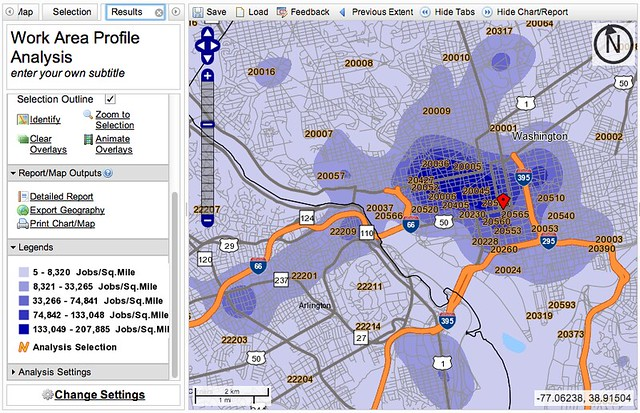 job density map: greater downtown DC