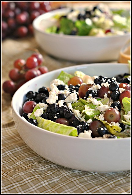 Salad with Blueberries, Grapes, and Almond Honey Mustard Dressing 1