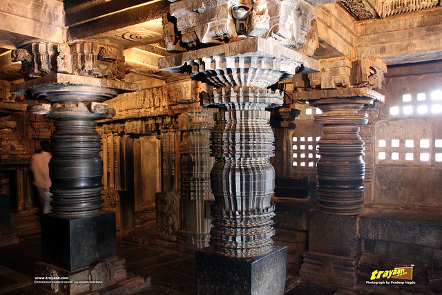 Hoysala style lathe turned pillars inside Keshava Temple, Somanathapura, Mysore district, Karnataka, India