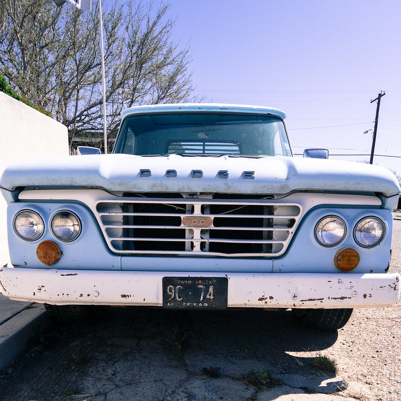 Blue Dodge Truck in Marfa