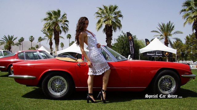 Model wearing outfit by She She in front of 1967 Maserati Mistral Spyder