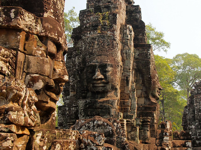 Faces at Bayon temple in Angkor, Cambodia
