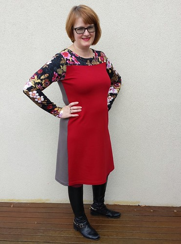 Me made May day 24. Style Arc Laura dress made from double knit leftovers.