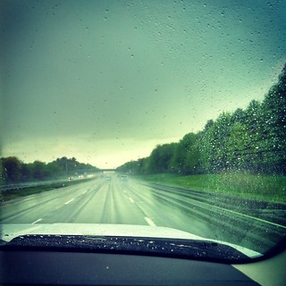 Rainy drive home from the race track #rain #maine #highway #sky #raining