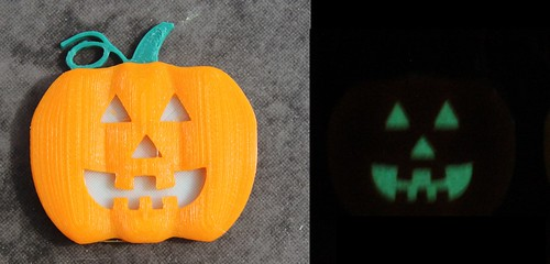 3D Printing - Glowing Pumpkin Pendant - Standard Face - Before And After