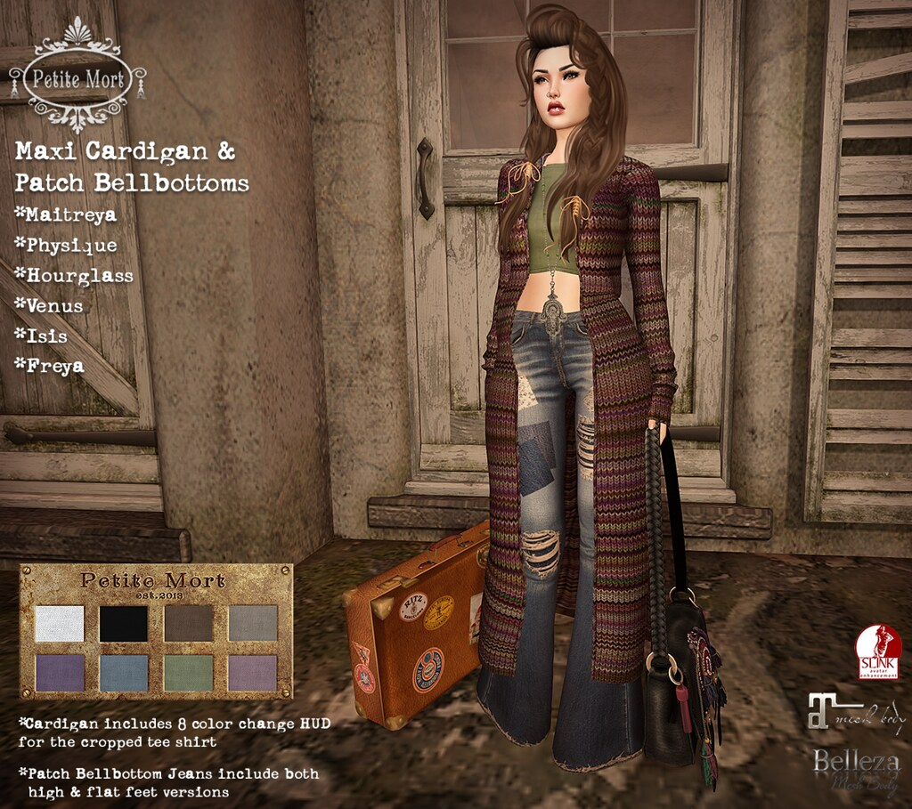 Petite Mort- Maxi Cardigan & Patch Bellbottoms - SecondLifeHub.com