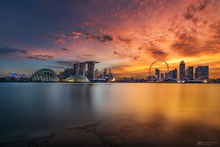 burning sunset over singapore