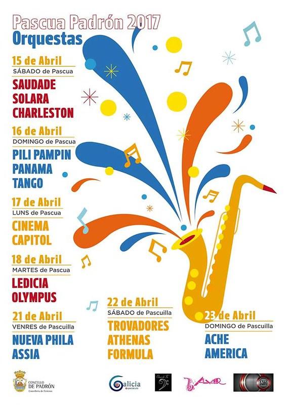 Padrón 2017 - Festas da Pascua - cartel orquestras