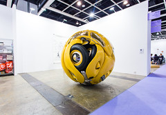 """Ichwan Noor (b. 1963): Beetle Sphere, 2013 (Aluminium, polyester, real parts from VW beetle '53, paint)"" / Art:1 by Mondecor Gallery / Art Basel Hong Kong 2013 / SML.20130523.6D.14135 — Explored"