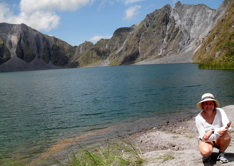 By the crater lake of Mount Pinatubo, Luzon Island, Philippines