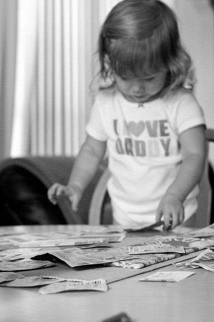 Who needs toys when you have a stack of expired coupons?