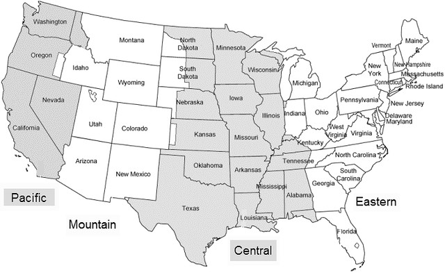 Map Of Us Time Zones Printable - Us time zone map black and white