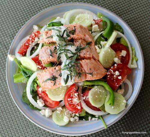 Lemon Tarragon Salmon with Greek Salad and Yogurt Dressing by The Hungry Goddess