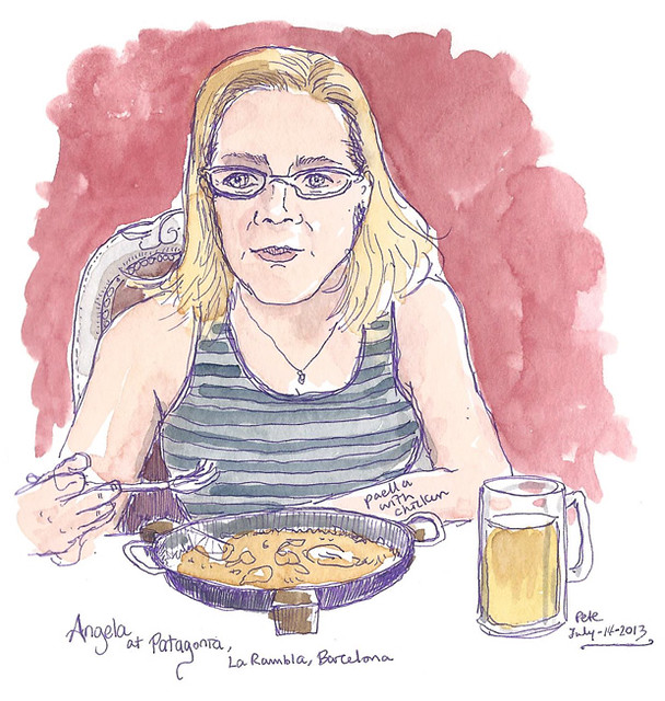 Angela eating paella