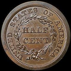 Newman 1845 Half Cent reverse