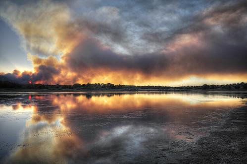sunset arizona mountain lake reflection water landscape fire smoke granite blaze firefighters prescott hotshots wildfire boblarson